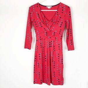 Boden polka WL846 V neck dot red dress